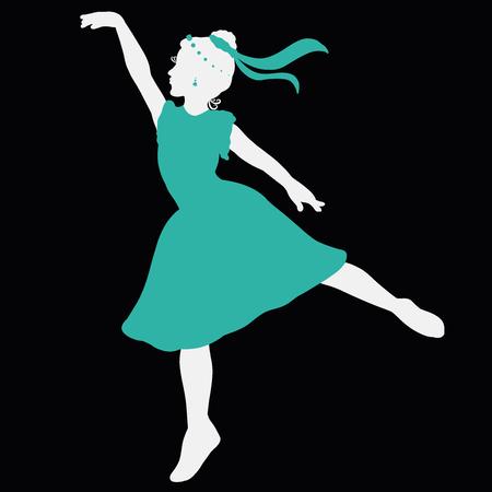 Silhouette of a beautiful dancing girl