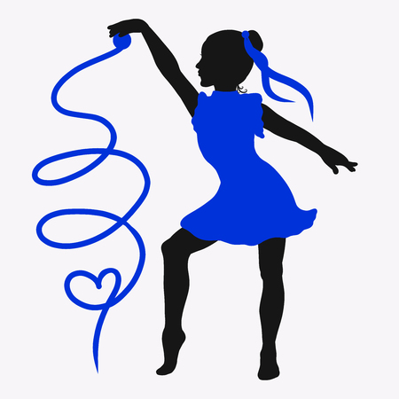 Dancing girl with ribbon and heart Banco de Imagens