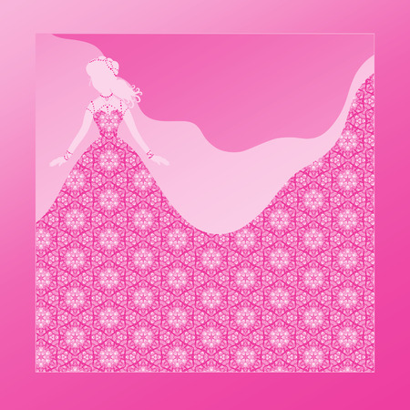 Silhouette of a beautiful bride in lace floral dress and veil, background