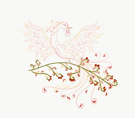 Beautiful and bright phoenix, with a flower in its beak, with a magnificent tail, spread wings, painted graceful lines with swirls