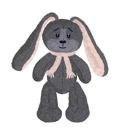 Long-eared plush rabbit, drawing Stock Photo