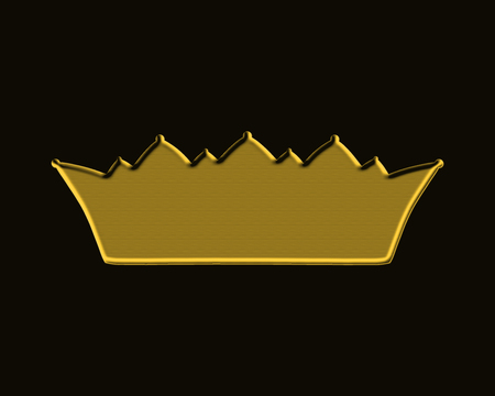 Golden solid crown on a black background
