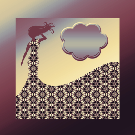 Background with a silhouette of a slender woman in a patterned dress, with a place for a signature