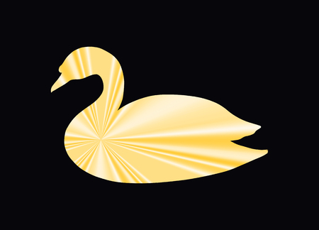 Silk golden swan, abstract