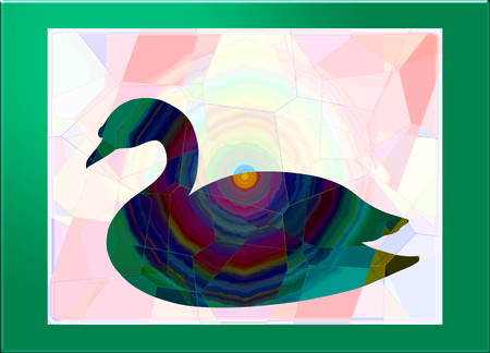 Silhouette of a swan with an abstract pattern Reklamní fotografie - 124600079