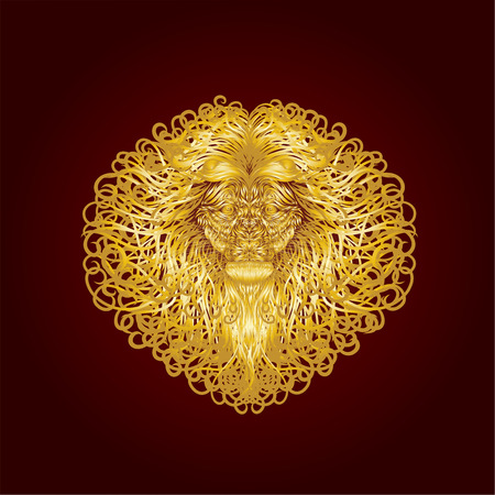 The golden head of a lion, with long curls on a magnificent mane