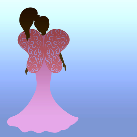 Silhouette of awoman with butterfly wings on a gradient background