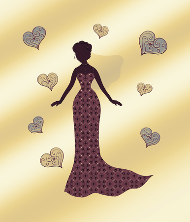 Silhouette of a slender woman in a beautiful dress with a pattern and veil, surrounded by patterned hearts, on a gold background