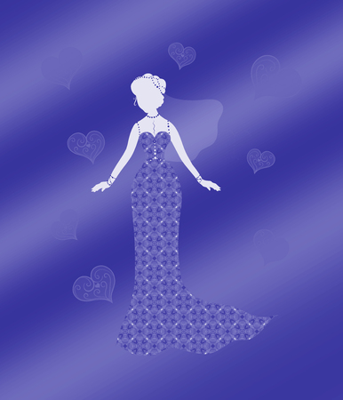 Silhouette of a slender woman in a beautiful dress with a pattern and veil, surrounded by patterned hearts Stock Photo