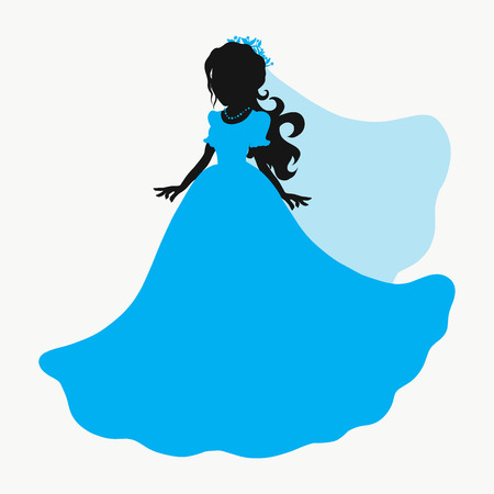Silhouette of a charming bride in a blue dress