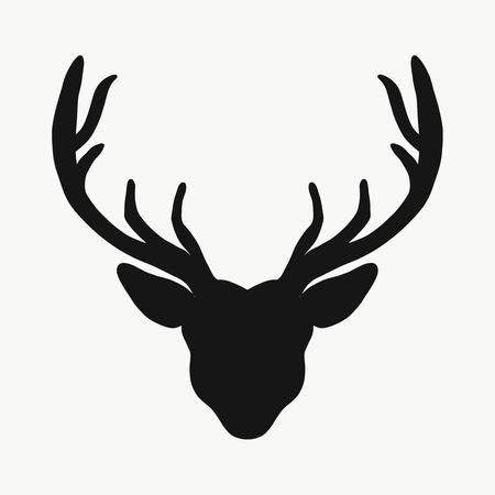 Czarna sylwetka głowy jelenia