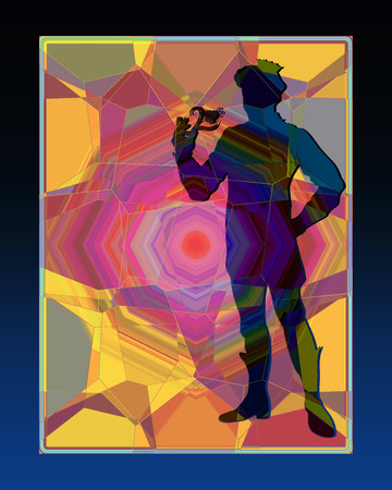 Silhouette of a prince on an abstract background