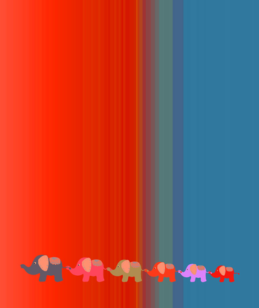 Bright red blue background with elephants