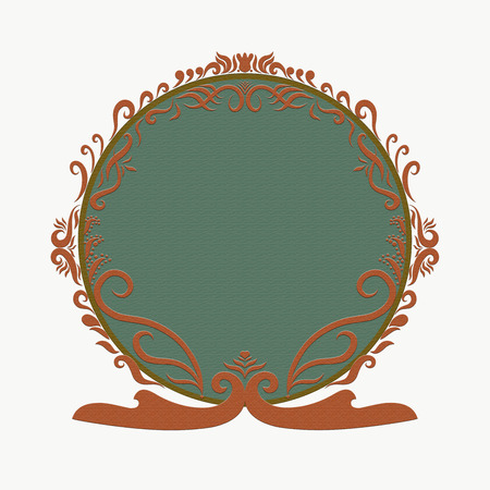 Elegant bright round frame with texture, painted lines with swirls