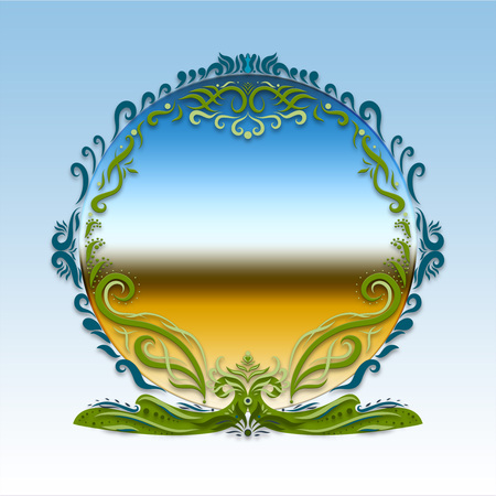 Elegant bright round frame with a gradient, painted lines with swirls