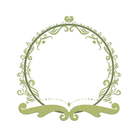 Elegant Green round frame, painted lines with swirls