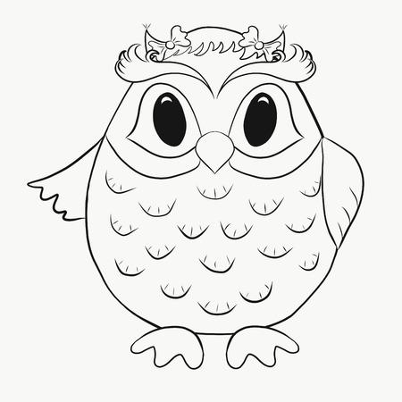 Coloring for kids, funny owl boy 版權商用圖片
