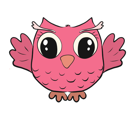 Funny pink owl Stock Photo - 124548714