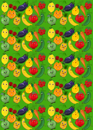Green background with funny vegetables, fruits and berries Stock Photo