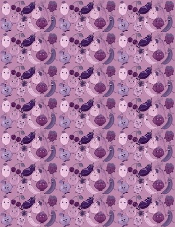 Purple background with funny fruits, vegetables and berries