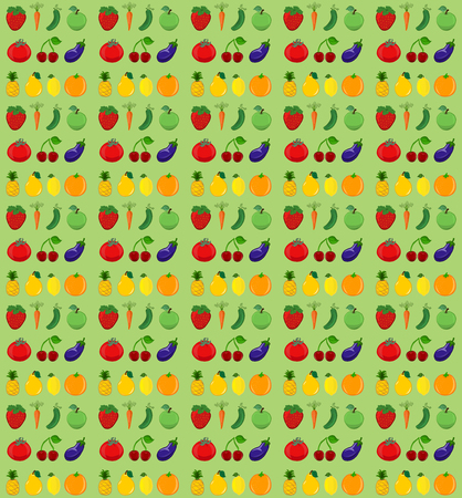 Bright background with vegetables, fruits and berries