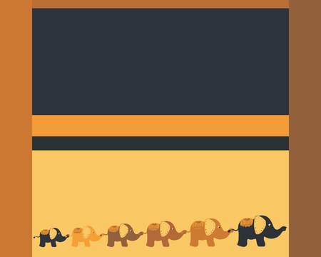 Blue-yellow background with funny elephants walking together