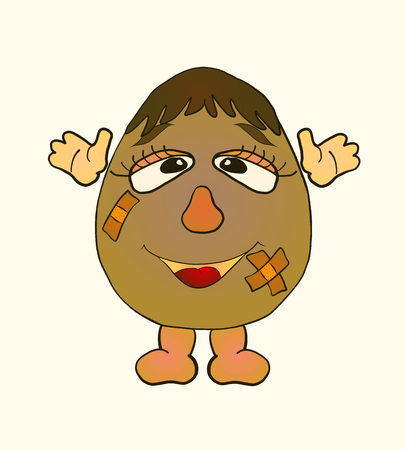 funny egg boy With wounds sealed with adhesive tape Banque d'images - 124400203