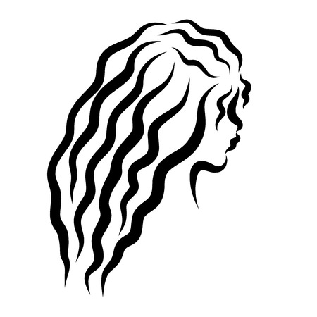 head of a charming girl with long wavy hair