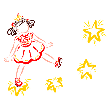 little princess walking by the stars, fantasy and dream