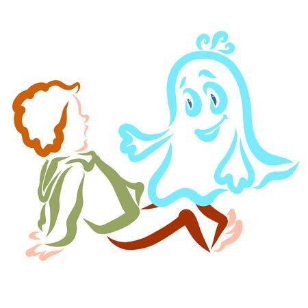 Scared boy and little merry ghost, contour