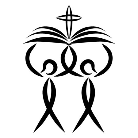 two people carry an open book with a cross, black pattern