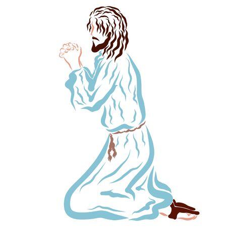 Lord Jesus praying on his knees, Savior
