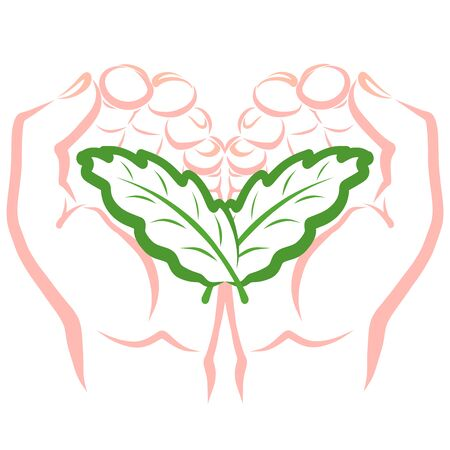 two leaves are similar to the wings and the heart in the hands