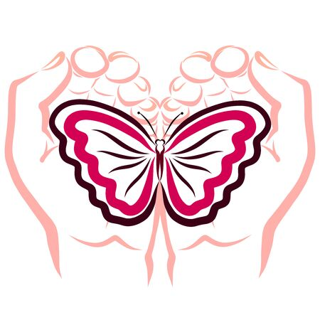 butterfly in the caring hands of a man Banco de Imagens