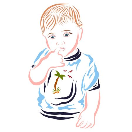 Thoughtful kid with a finger in his mouth in a T-shirt