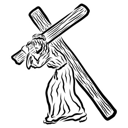 Jesus carrying the cross to Calvary, suffering the Savior
