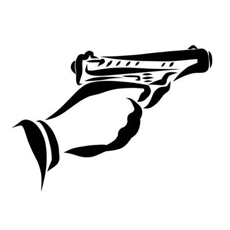 man shoots a pistol, hand and gun