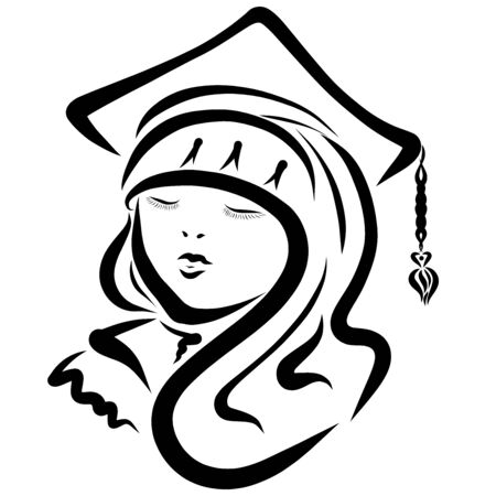 young student in a hat with a tassel and mantle Banque d'images - 126845235