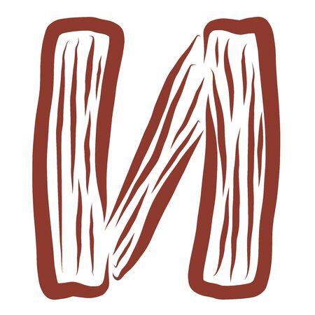 wooden brown letter, creative alphabet, brown pattern
