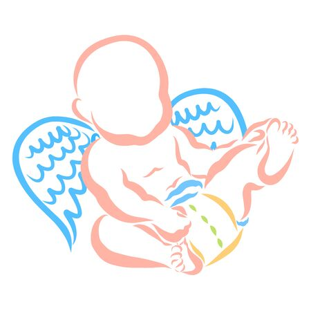 winged baby plays with his legs, colorful outline