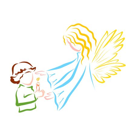 a child with burning candle in their hands and a guarding angel Standard-Bild - 128004288