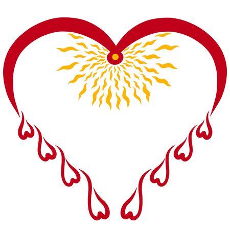 Red heart, bird, drops and shining sun inside