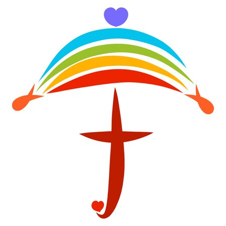 christian symbol of protection, umbrella of rainbow and cross Zdjęcie Seryjne - 128004460