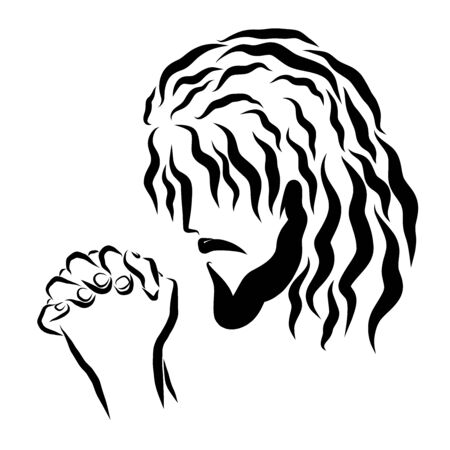 humbly praying lord jesus head and hands Stockfoto