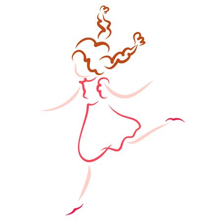 unning or jumping girl in dress, abstract pattern