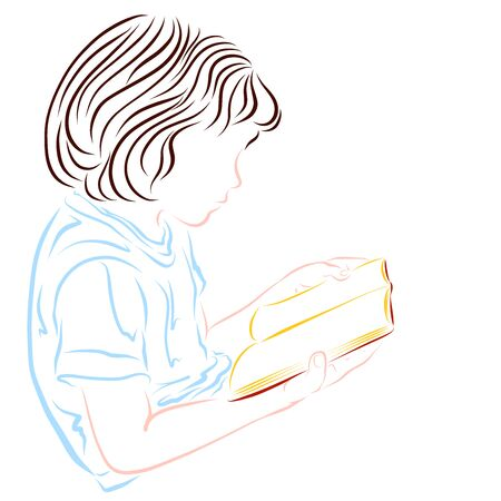 a child with long hair reads a book enthusiastically