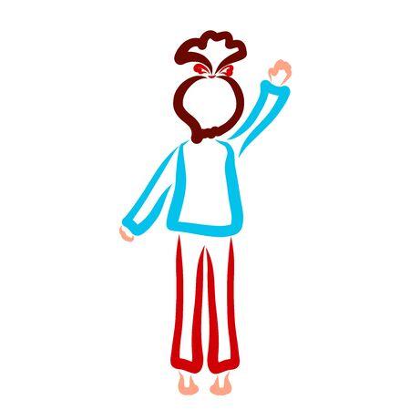 girl standing on tiptoe waving hand, contour 스톡 콘텐츠