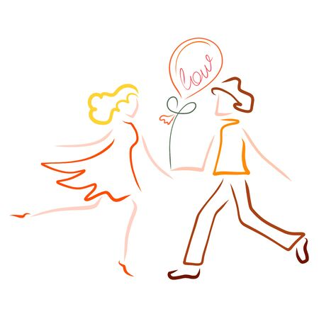 Lovers man and woman are in a hurry to meet each other, a gift balloon Zdjęcie Seryjne