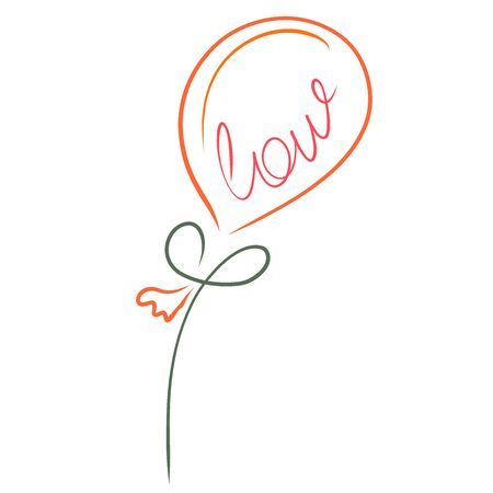 flying balloon with the word love like a flower
