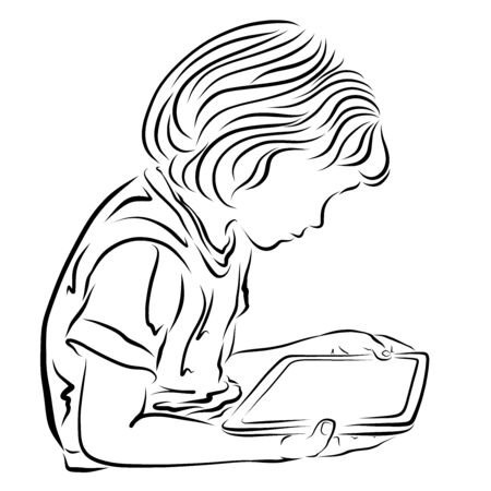 child with a tablet in hands, blank screen